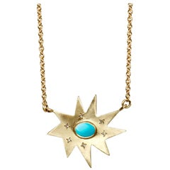 Emily Kuvin Gold Organic Star Pendant Necklace with Turquoise and Diamonds