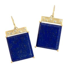 Emily Kuvin Lapis, Diamond and Gold Tile Earrings