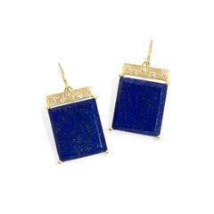 Emily Kuvin Lapis, Diamond and Gold Tile Earrings