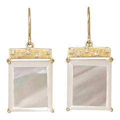 Emily Kuvin Mother of Pearl, Diamond and Gold Tile Earrings
