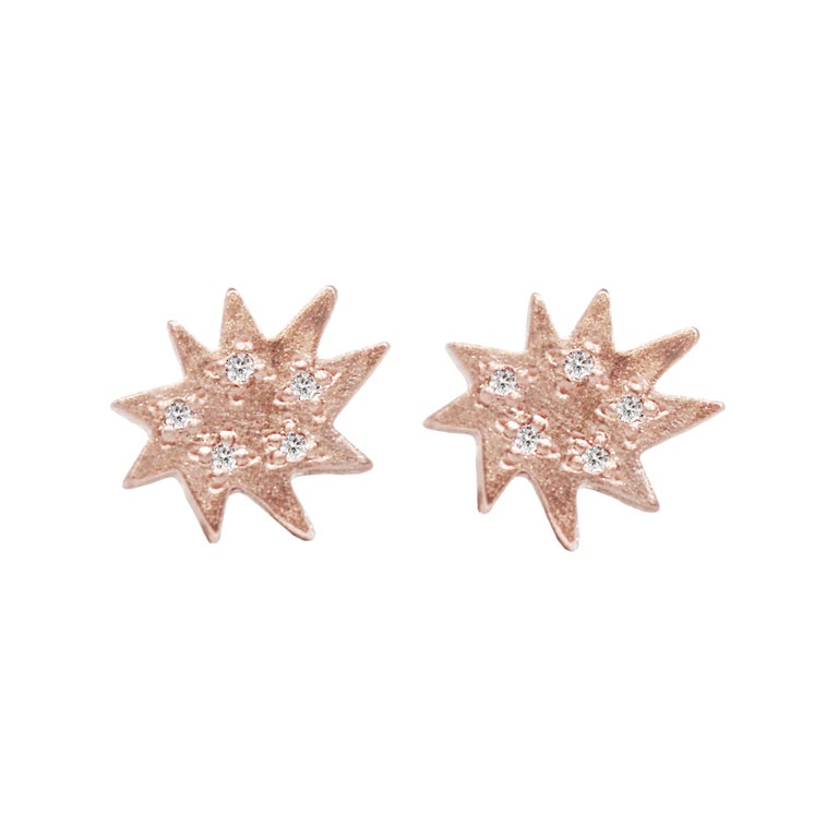 Emily Kuvin Rose Gold and Diamond Star Shape Mini Stella Stud Earrings For Sale
