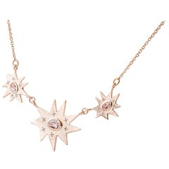 Emily Kuvin Rose Gold, Diamond and Morganite Triple Organic Star Necklace