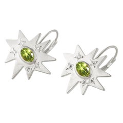 Emily Kuvin Silver, Diamond and Peridot Star Drop Lever Back Earrings