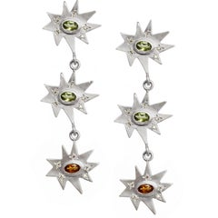 Emily Kuvin Silver Triple Star Shoulder Duster Earrings, Peridot and Citrine