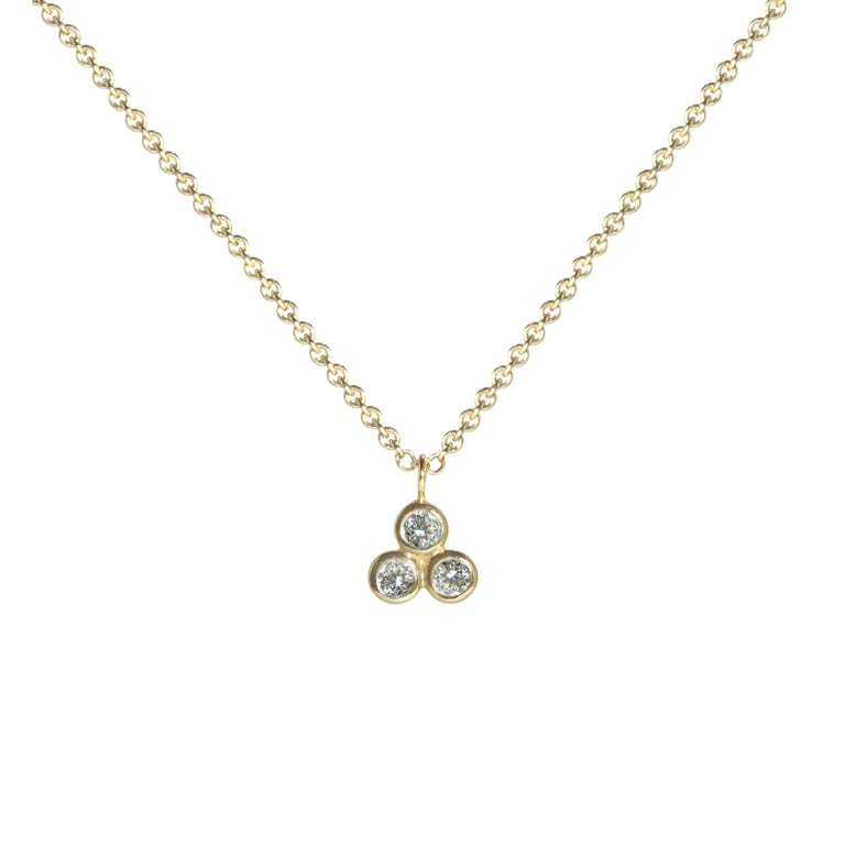 Contemporary Emily Kuvin Three Dot Diamond Necklace and Earring Set For Sale
