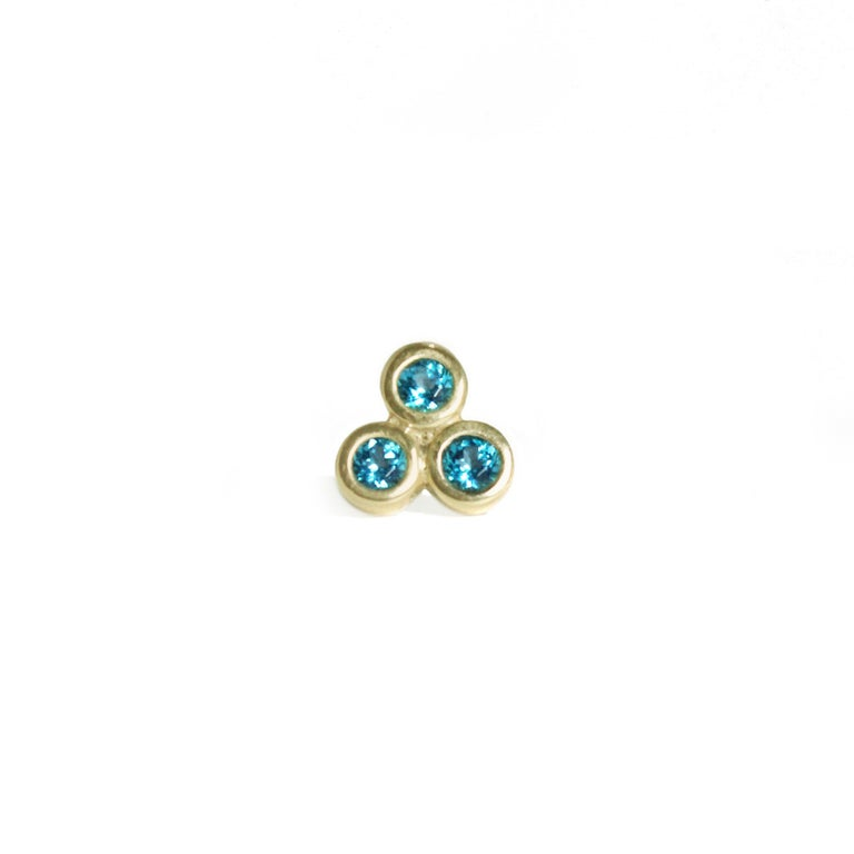 Contemporary Emily Kuvin Triple Paraiba Topaz and Gold Earrings For Sale