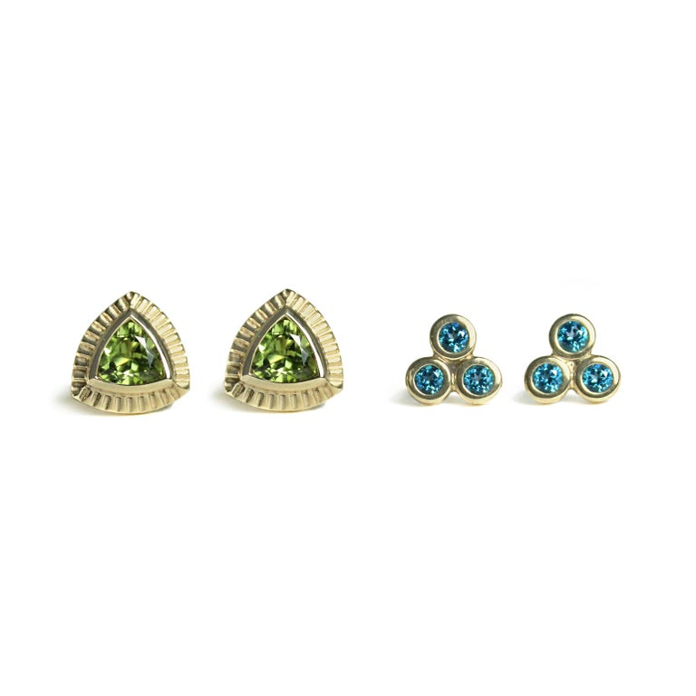 Round Cut Emily Kuvin Triple Paraiba Topaz and Gold Earrings For Sale