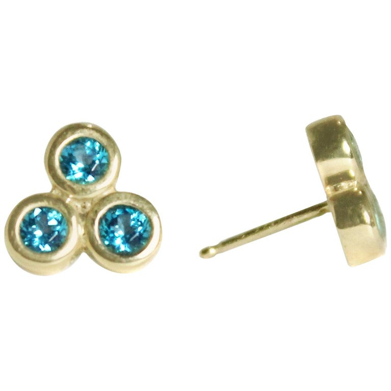 Emily Kuvin Triple Paraiba Topaz and Gold Earrings For Sale