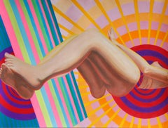 """""""Radiator"""" Optical Art Contemporary Painting with Female Figure"""
