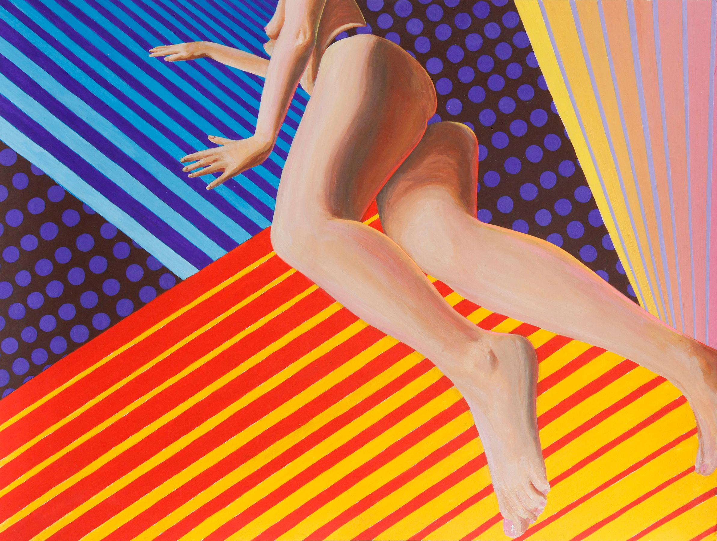 """""""Suspend"""" Optical Art Contemporary Painting with Female Figure"""