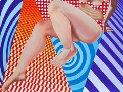 """""""Toe Tap"""" Optical Art Contemporary Painting with Female Figure"""