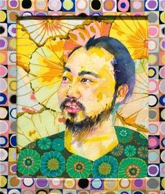 """Jason"", Figurative, Watercolor, Fabric, Portrait, Mixed Media"
