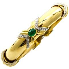 Emis 18 Karat Yellow Gold Emerald Diamond Bangle Bracelet
