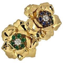 Emis Beros Gold, Emerald, Sapphire and Diamond Large Scale Double Flower Brooch
