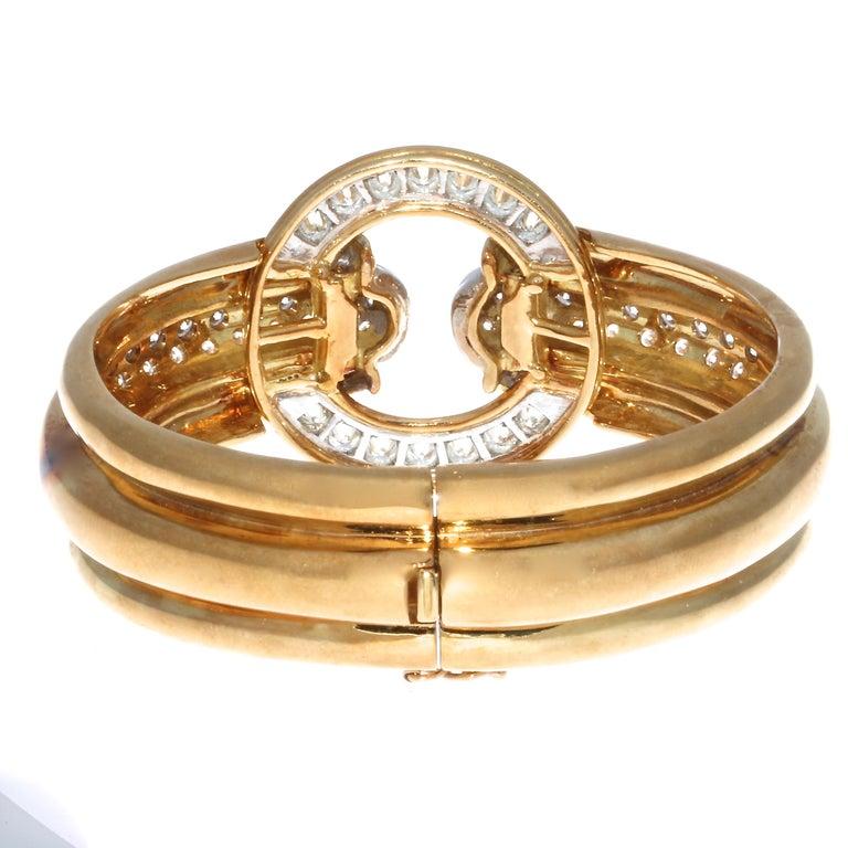Round Cut Emis Diamond 18 Karat Gold Platinum Bangle For Sale