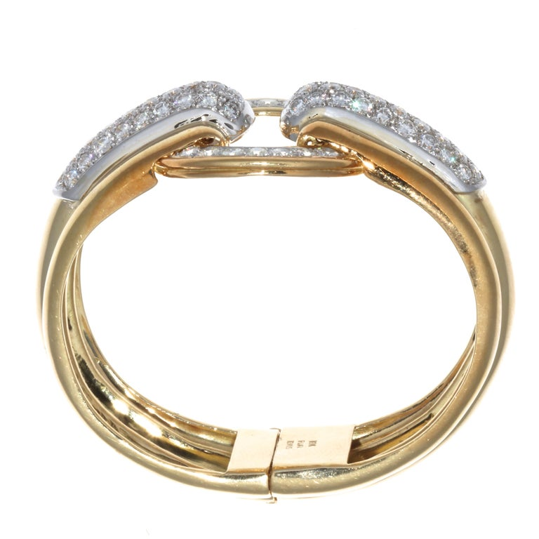Women's Emis Diamond 18 Karat Gold Platinum Bangle For Sale