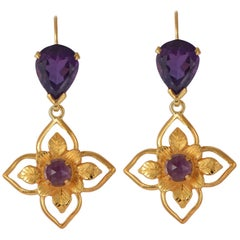 Emma Chapman Amethyst Gold Plate Earrings