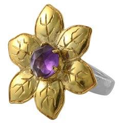 Emma Chapman Amethyst Gold Plate Flower Ring