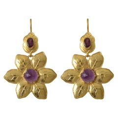 Emma Chapman Amethyst Tourmaline Gold Plate Statement Flower Earrings