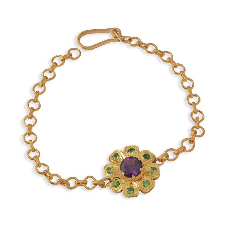 Contemporary Emma Chapman Amethyst Tsavorite Bracelet For Sale