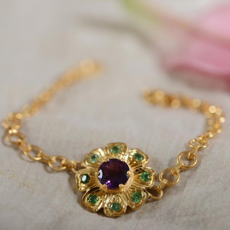 Emma Chapman Amethyst Tsavorite Bracelet In New Condition For Sale In Frome, GB