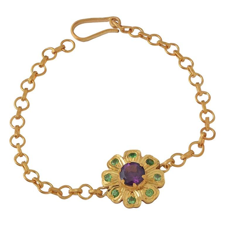 Emma Chapman Amethyst Tsavorite Bracelet For Sale