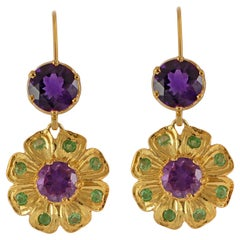 Emma Chapman Amethyst Tsavorite Gold Plate Earrings