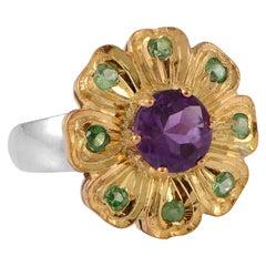 Emma Chapman Amethyst Tsavorite Gold Plate Ring