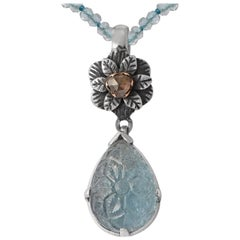 Emma Chapman Aquamarine Diamond 18 Karat Gold Silver Pendant