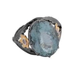 Emma Chapman Aquamarine Diamond 18k Gold Silver Cocktail Ring