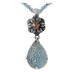Emma Chapman Aquamarine Diamond Carved Pendant