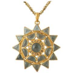 Emma Chapman Aquamarine Diamond Gold Plate Pendant