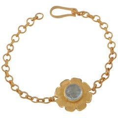 Emma Chapman Aquamarine Gold Plate Bracelet
