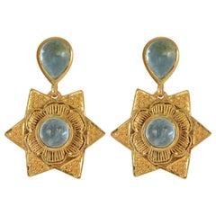 Emma Chapman Aquamarine Gold Plate Drop Earrings
