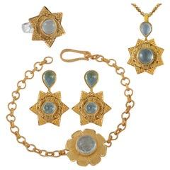 Emma Chapman Aquamarine Gold Plate Pendant Earring Bracelet Ring Suite
