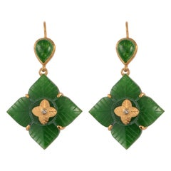 Emma Chapman Aventurine Diamond Gold Plate Drop Earrings