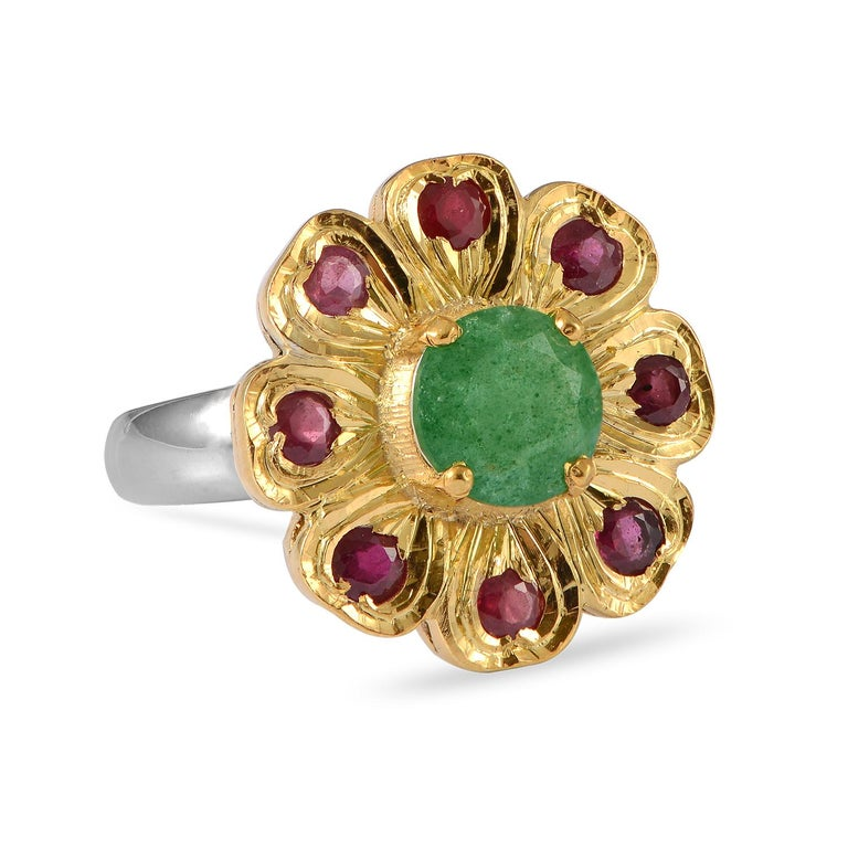 Contemporary Emma Chapman Aventurine Ruby Gold Plate Ring For Sale