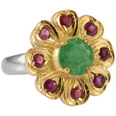 Emma Chapman Aventurine Ruby Gold Plate Ring