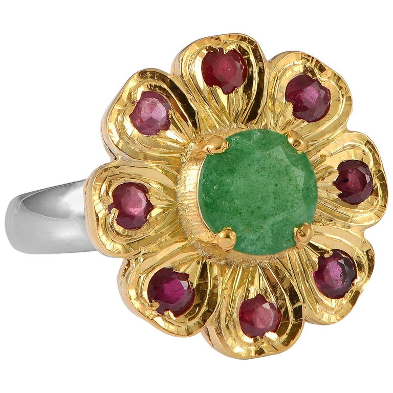 Emma Chapman Aventurine Ruby Gold Plate Ring For Sale