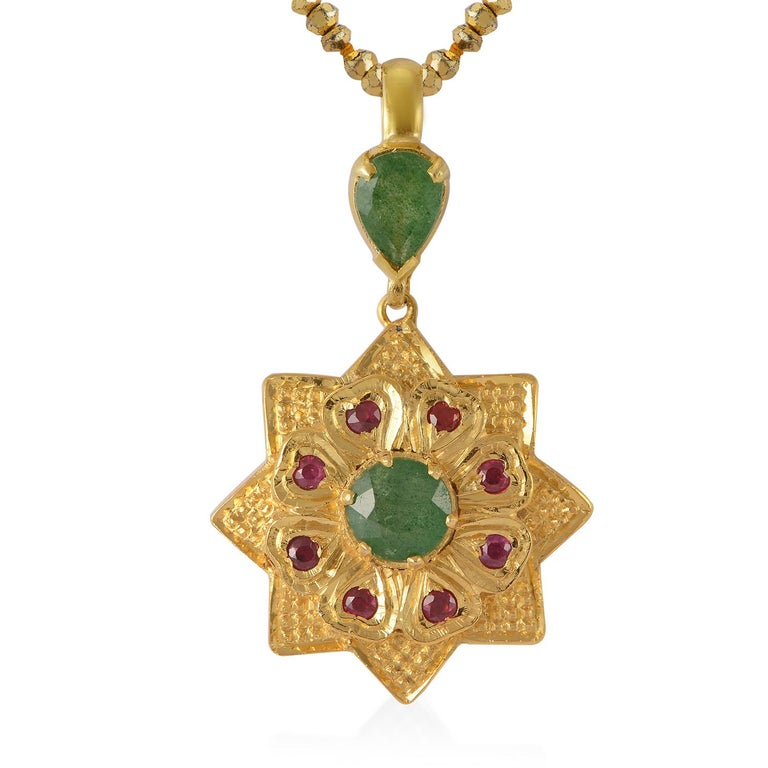 Emma Chapman Aventurine Ruby Gold Plate Pendant In New Condition For Sale In Frome, GB