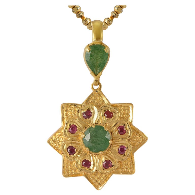 Emma Chapman Aventurine Ruby Gold Plate Pendant For Sale