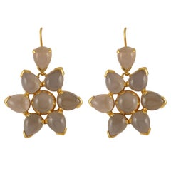 Emma Chapman Black Moonstone Gold Plate Drop Earrings