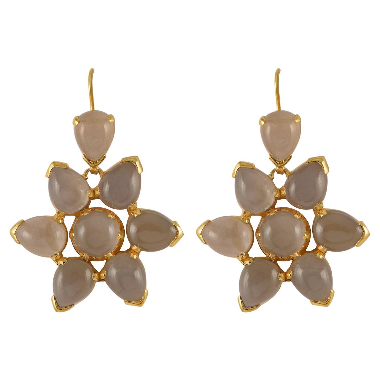 Emma Chapman Black Moonstone Gold Plate Dangle Earrings