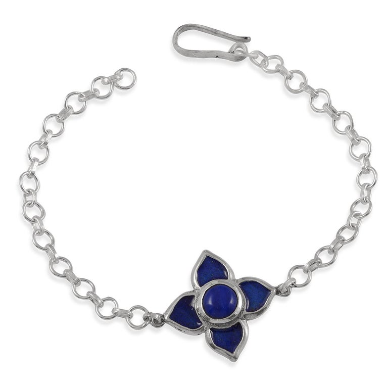 Contemporary Emma Chapman Blue Enamel Silver Bracelet For Sale
