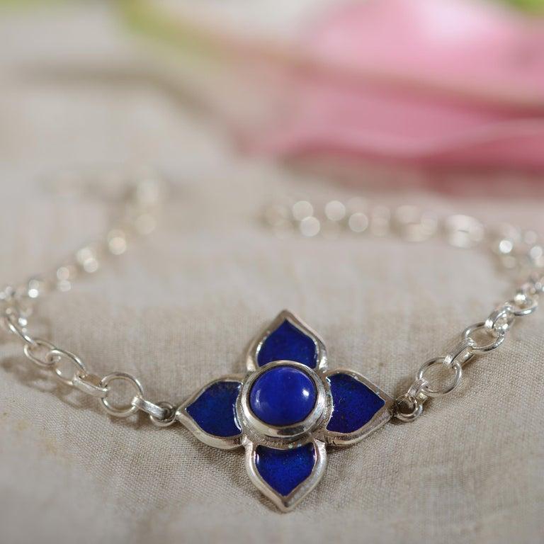 Emma Chapman Blue Enamel Silver Bracelet In New Condition For Sale In Frome, GB