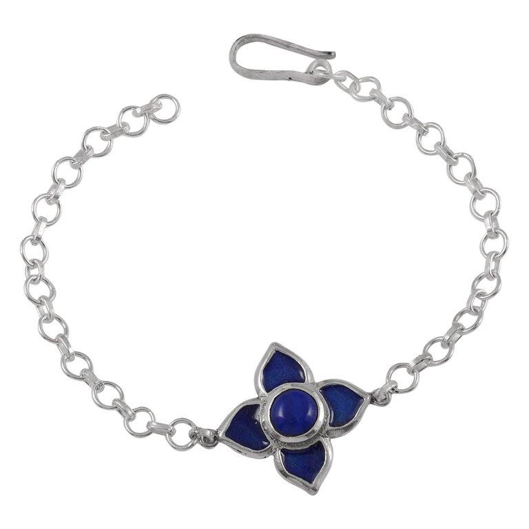 Emma Chapman Blue Enamel Silver Bracelet For Sale