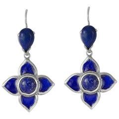 Emma Chapman Blue Enamel Silver Earrings