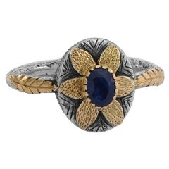 Emma Chapman Blue Sapphire 18 Karat Yellow Gold Flower Ring
