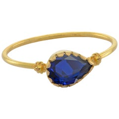 Emma Chapman Blue Sapphire 18 Karat Yellow Gold Stacking Ring