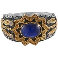 Emma Chapman Blue Sapphire Diamond 18 Karat Gold Statement Ring